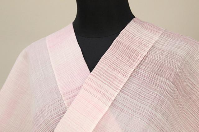 夏着物 小千谷ちぢみ 吉新織物 楊柳 オーダー仕立て付き 細ストライプ ピンク×白