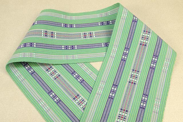 首里 道屯織 半幅帯 沖縄 綿 緑×紫
