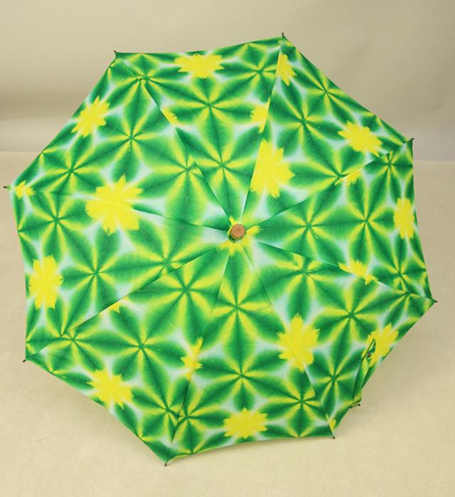 和小物さくら 雪花絞 日傘 UV加工 藤井絞生地使用 緑×黄