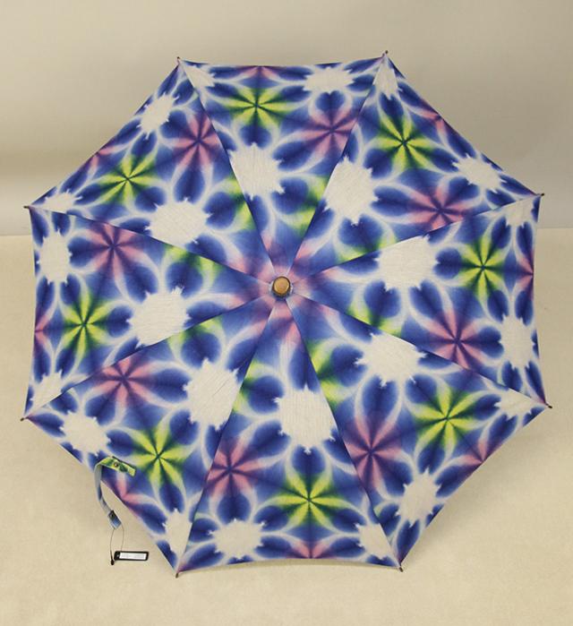和小物さくら 雪花絞 日傘 UV加工 藤井絞炭綿麻生地使用  青×白
