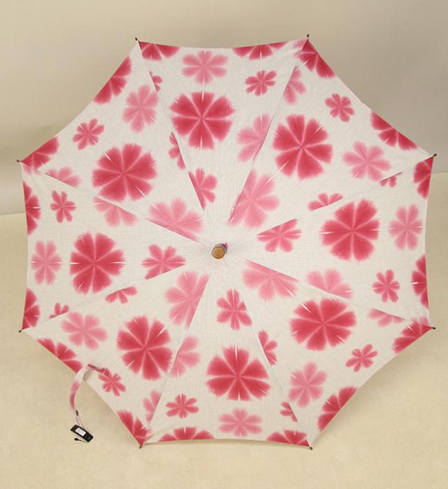 和小物さくら 雪花絞 日傘 UV加工 藤井絞炭綿麻生地使用  ピンク×白