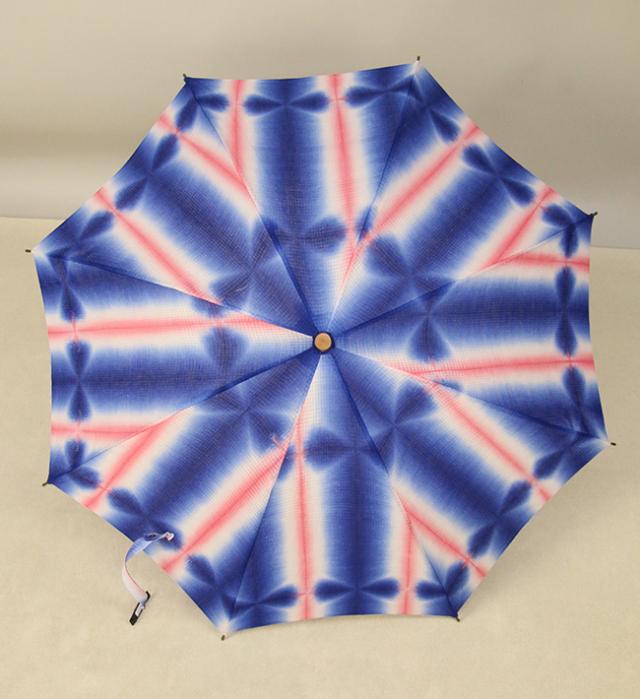 和小物さくら 板締め絞 日傘 UV加工 藤井絞綿麻紅梅生地使用 青×ピンク