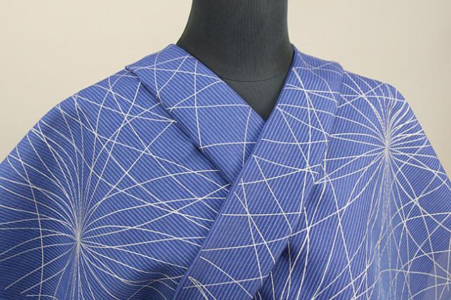 三勝 絹変紗 オーダー仕立て付き 幾何学 花 青◆女性にオススメ◆