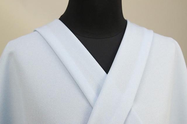 さわやかちりめん 江戸小紋 分銅繋ぎ 単衣着物 正絹 オーダー仕立て付 鮫小紋 水色