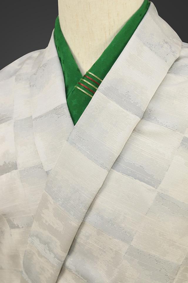 柴田織物 正絹お召し着尺 オーダー仕立て付 先染 箔 ブルーグレー
