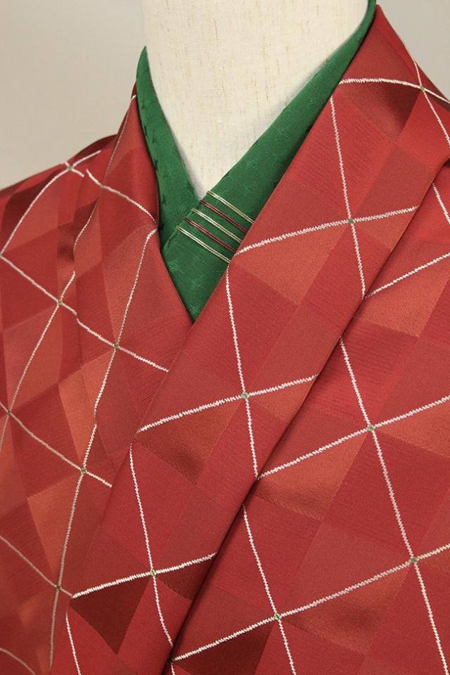 柴田織物 正絹お召し着尺 オーダー仕立て付 先染 クリムゾンキング 赤