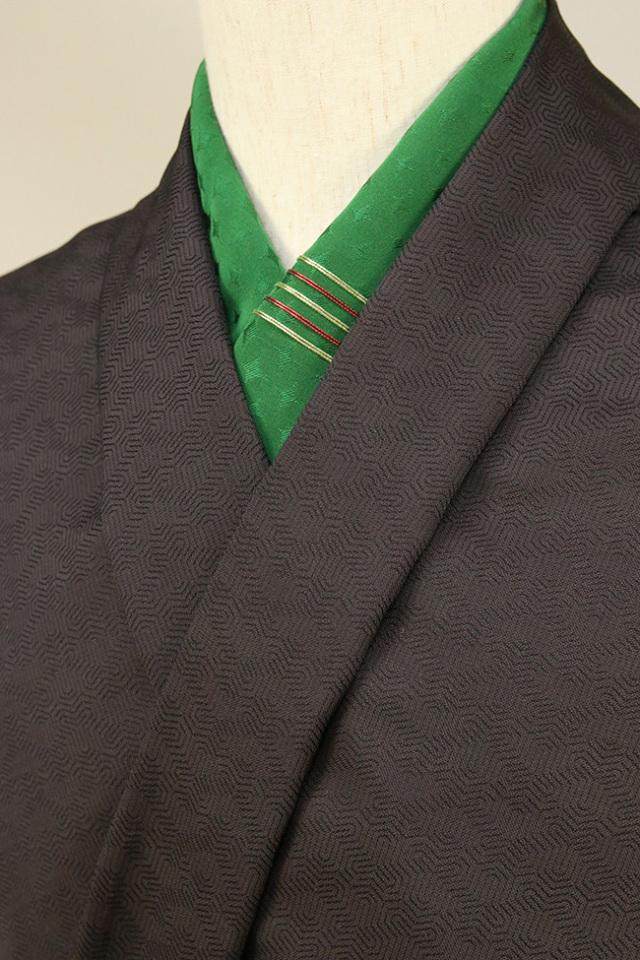 柴田織物 正絹お召し着尺 オーダー仕立て付 先染 毘沙門亀甲 チャコールグレー