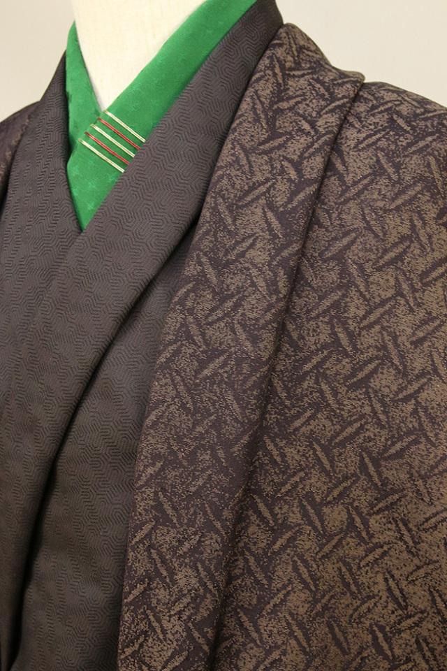 柴田織物 正絹お召し着尺 羽織仕立て付 後染 柿渋縞鋼板 焦げ茶