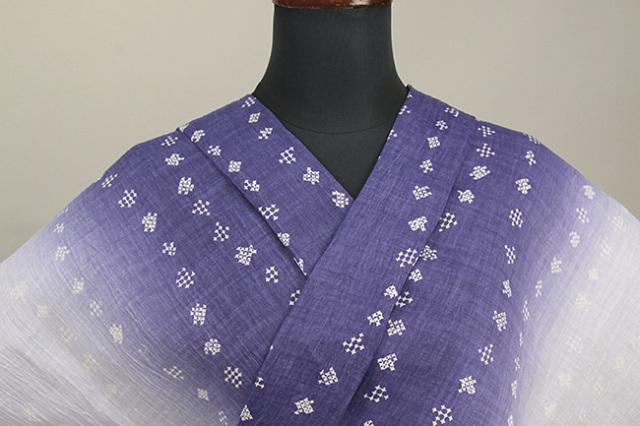 夏着物 本麻染着物 トリエ 楊柳 オーダー仕立て付き 星 立涌 青紫×白