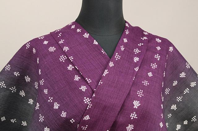 夏着物 本麻染着物 トリエ 楊柳 オーダー仕立て付き 星 立涌 赤紫×灰