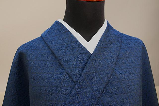 ワタマサ 洗える正絹お召し着尺 オーダー仕立て付 シダ菱 青