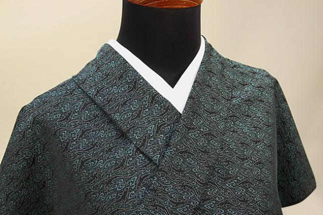 ワタマサ 洗える正絹お召し着尺 三重織 オーダー仕立て付 鮫小紋 青緑