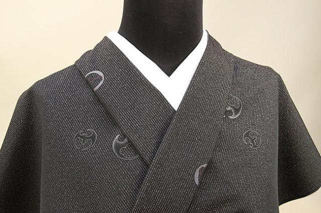 ワタマサ 洗える正絹お召し着尺 三重織 オーダー仕立て付 コウモリ 黒×灰