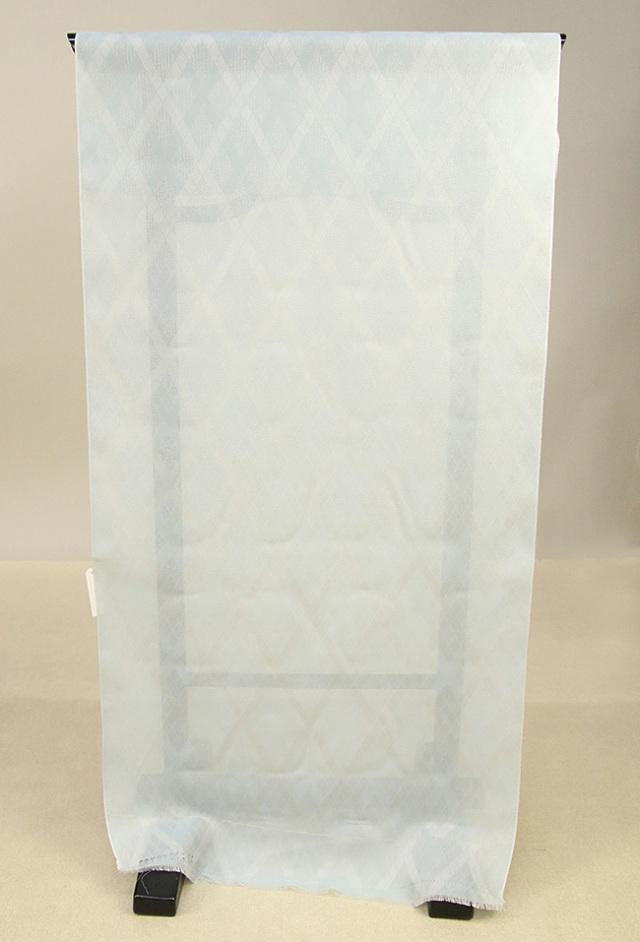 ワタマサ 羽尺 正絹 オーダー仕立て付 ダイヤチェック 水色 B反