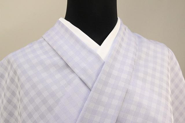 ワタマサ 洗える正絹お召し着尺 オーダー仕立て付 格子 紫