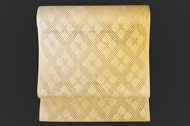 彩季香 組帯 正絹 八寸名古屋帯 菱形 黄色 お仕立て付き