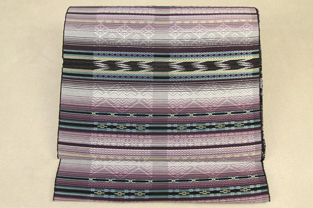 西陣 正絹 九寸名古屋帯 花織 黒 仕立て付き
