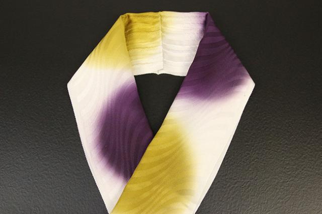 れん 正絹半衿 丸暈し 紫×黄