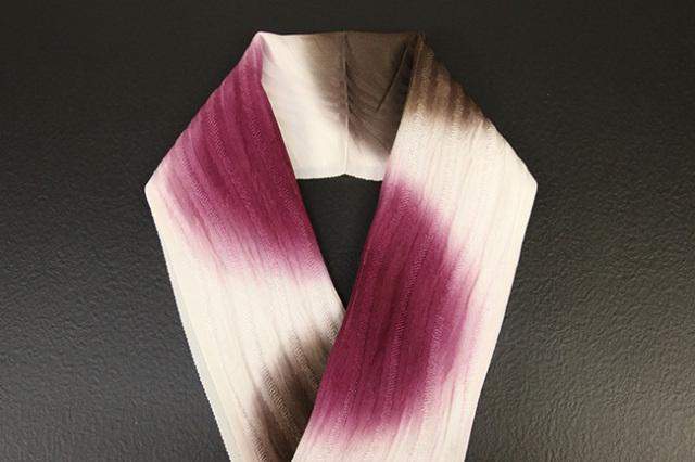 れん 正絹半衿 丸暈し 茶×赤紫