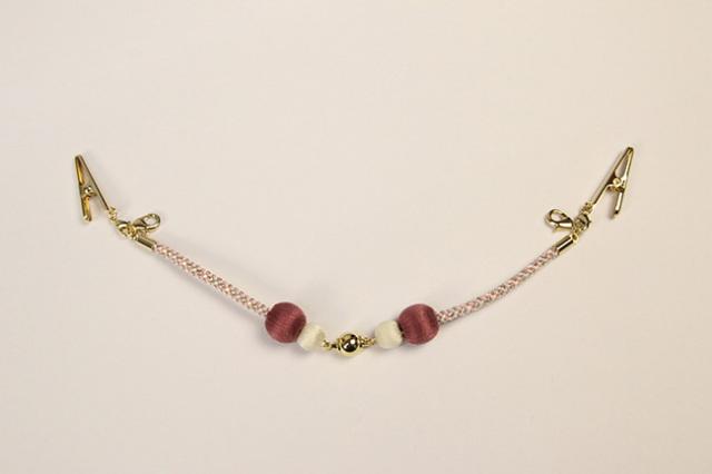 女性用羽織紐 マグネット式 ラメ糸 ピンク