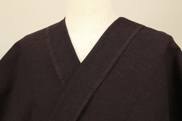 三河木綿 オーダーお仕立付き 洗える普段着着物 沙~いさご~ 紺×赤紫 48-15-1 ◆男女兼用◆