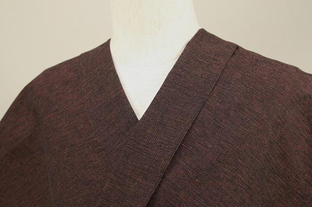 三河木綿 オーダーお仕立付き 洗える普段着着物 沙~いさご~ 茶×赤 48-38-2 ◆男女兼用◆