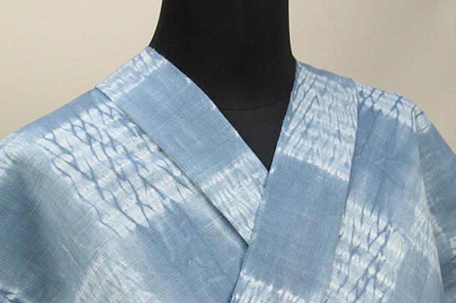 片貝絞り 紺仁工房 木綿着物 オーダーお仕立て付き 普段着きもの 市松 水色