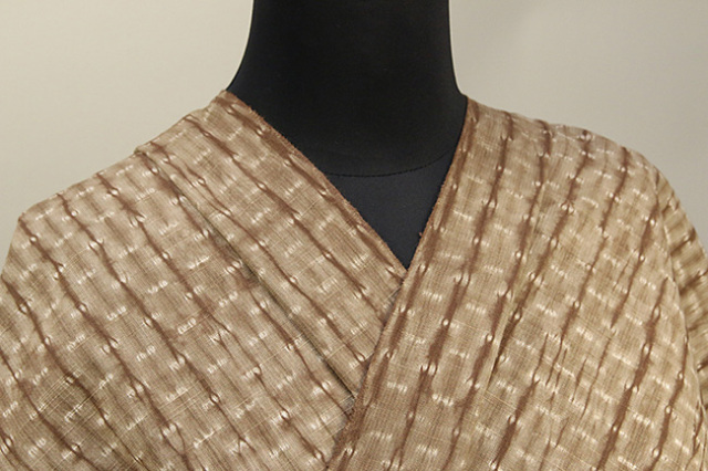片貝絞り 紺仁工房 木綿着物 オーダーお仕立て付き 普段着きもの 縫締め 茶