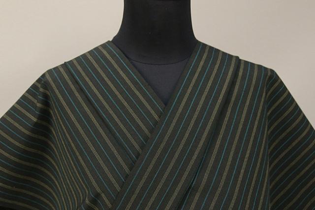絹木綿着物 オーダーお仕立付き 洗える普段着着物 きくちいま 303シリーズ 夜の滝 深緑 ◆女性にオススメ◆