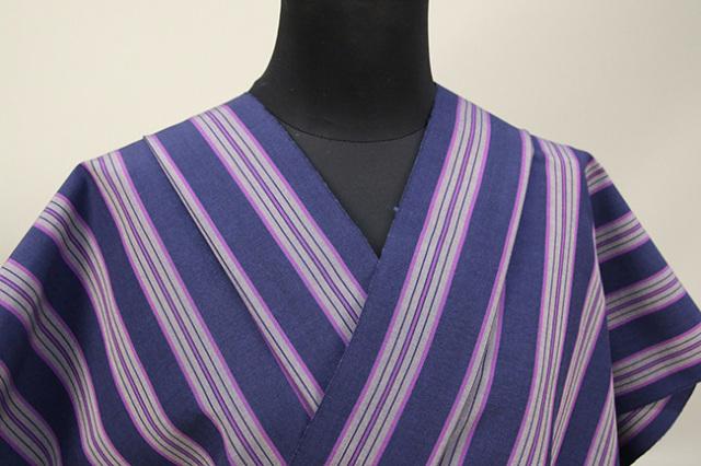 絹木綿着物 オーダーお仕立付き 洗える普段着着物 きくちいま 303シリーズ 牡丹縞 紺 ◆女性にオススメ◆