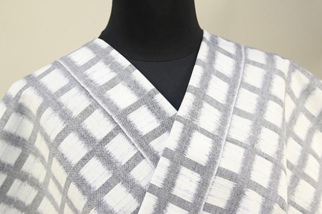 久留米絣 木綿着物 オーダーお仕立て付き 普段着きもの チェック 灰×白◆女性にオススメ◆