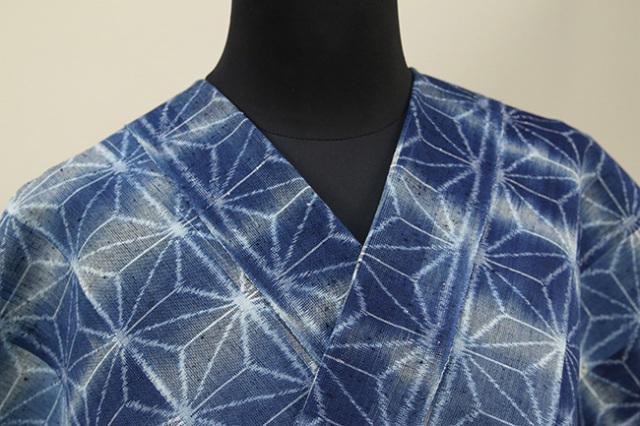 正藍染 久留米絣 伝統的工芸品 木綿着物 オーダーお仕立て付き 麻の葉 藍 ◆女性にオススメ◆