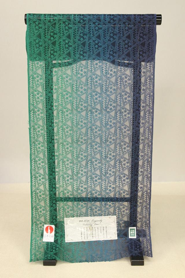 刺繍 シルクオーガンジー レース 羽織コート地 緑系 オーダー仕立て付き