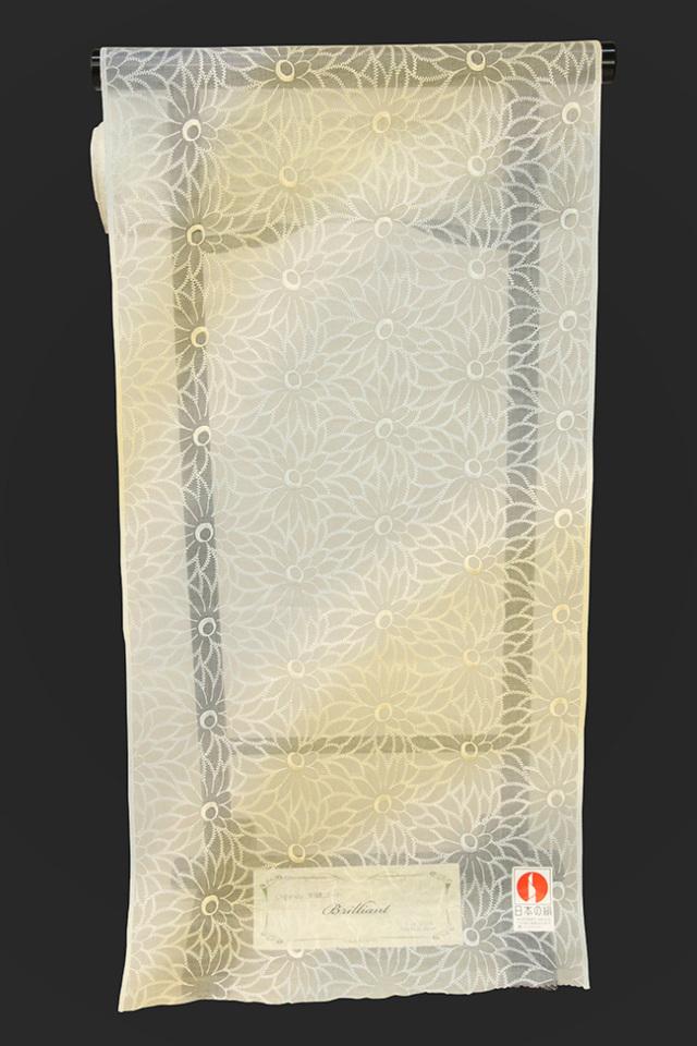 刺繍 シルクオーガンジー レース 羽織コート地 ゴールド×シルバー オーダー仕立て付き