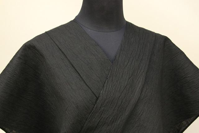 Kimono Factory nono 麻着物 chrome 黒色無地 オーダー仕立て付き