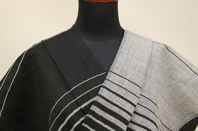 Kimono Factory nono 麻着物 chrome 波紋 黒 オーダー仕立て付き