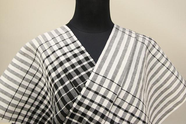 Kimono Factory nono 麻着物 chrome 風 白×黒 オーダー仕立て付き