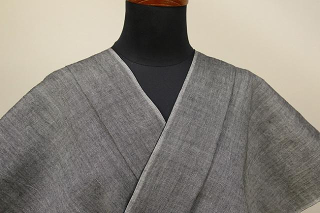Kimono Factory nono 麻着物 chrome 灰色無地 オーダー仕立て付き