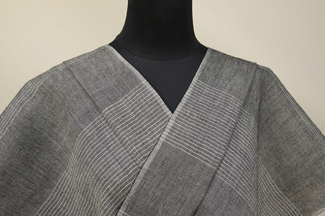 Kimono Factory nono 麻着物 chrome 弦 灰 オーダー仕立て付き