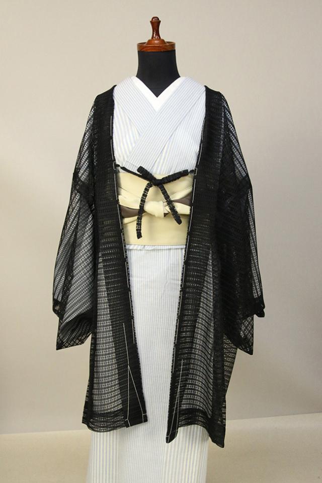 Kimono Factory nono レースの薄羽織 Sheer ブラック