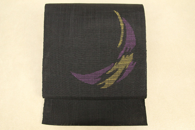 Kimono Factory nono 夏の麻八寸名古屋帯 moon 黒×黄紫 仕立付き
