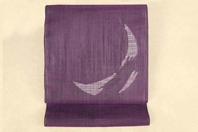 Kimono Factory nono 夏の麻八寸名古屋帯 moon 紫×白灰 仕立付き