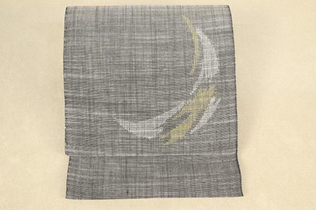 Kimono Factory nono 夏の麻八寸名古屋帯 moon 灰×白黄 仕立付き