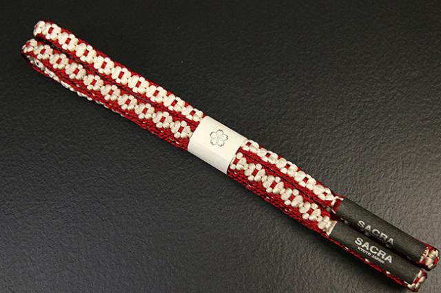 和小物さくら 帯締め 正絹 両面リバーシブル 小桜組 赤