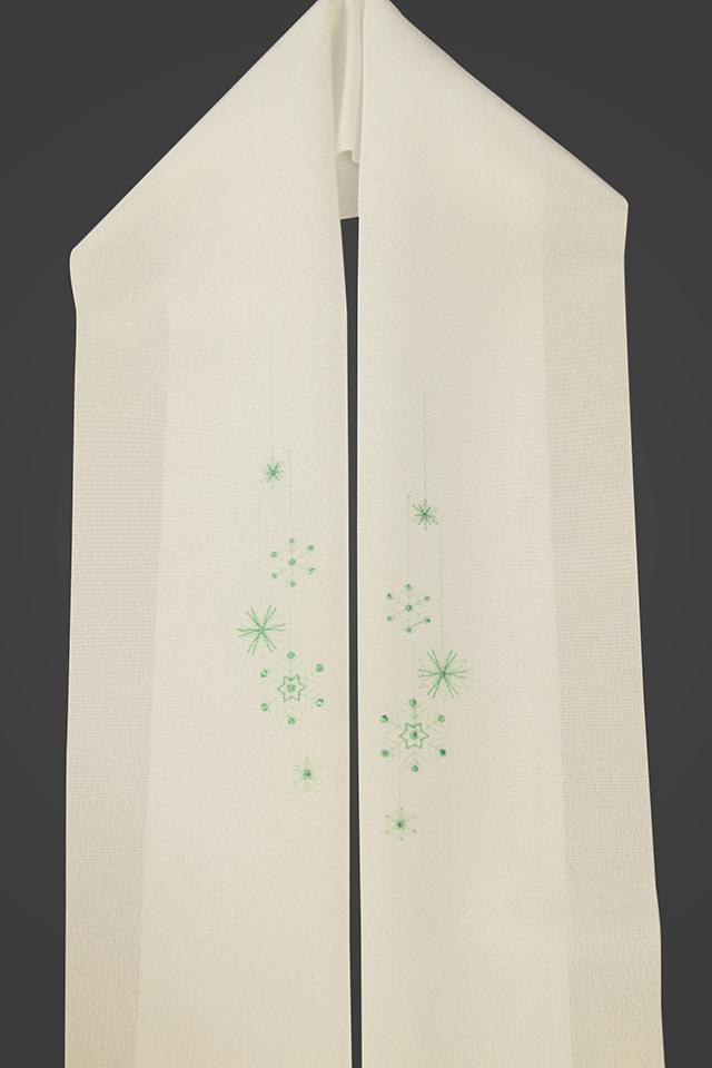 刺繍半衿 雪の結晶 ポリエステル