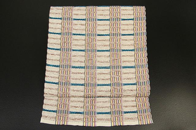 米沢織  綿さがの 八寸名古屋帯 ボーダー ベージュ×青緑 お仕立て付き