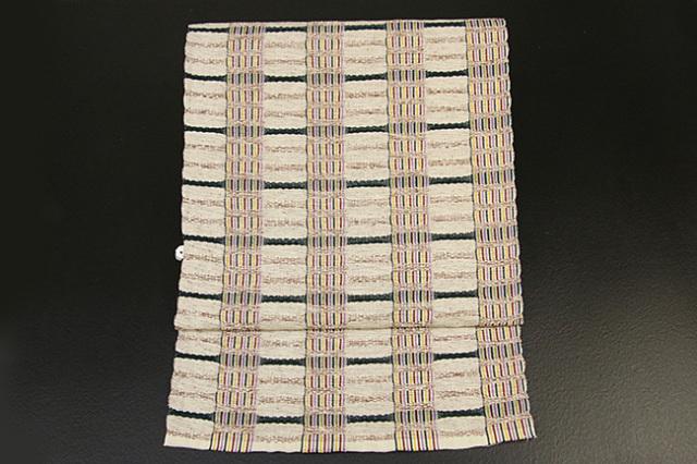 米沢織  綿さがの 八寸名古屋帯 ボーダー ベージュ×深緑 お仕立て付き