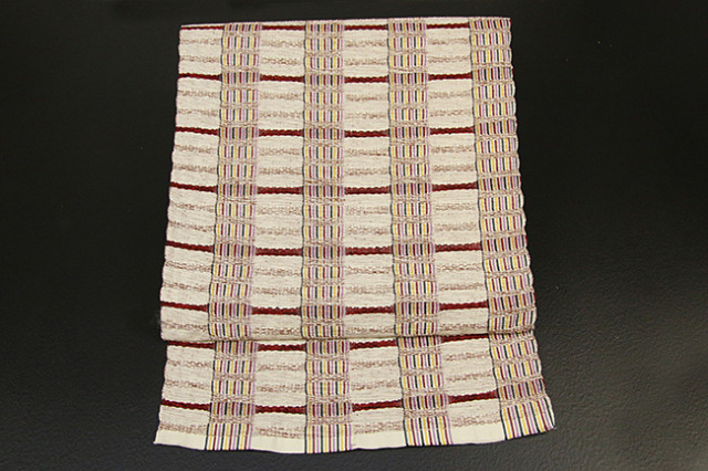 米沢織  綿さがの 八寸名古屋帯 ボーダー ベージュ×赤 お仕立て付き