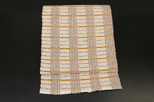 米沢織  綿さがの 八寸名古屋帯 ボーダー ベージュ×山吹色 お仕立て付き