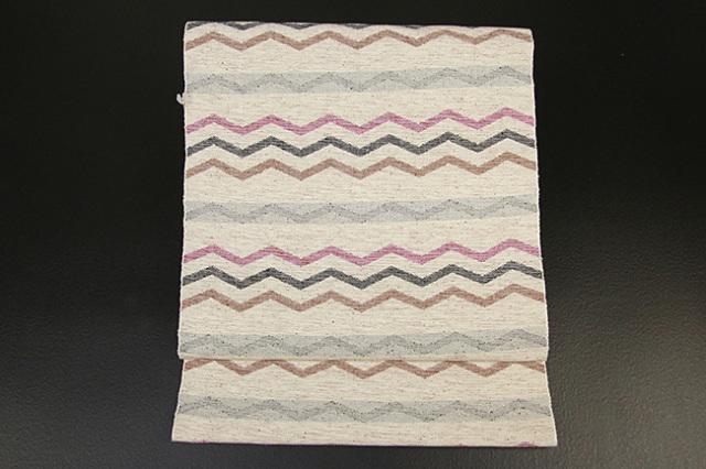 米沢織  彩華 八寸名古屋帯 ギザギザ ピンク×灰×茶 お仕立て付き
